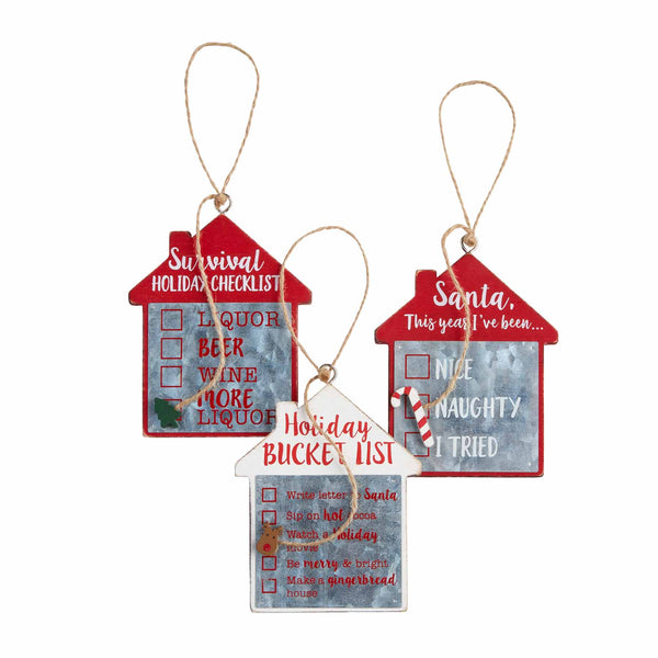 Mud Pie Checklist Ornament- 3 styles