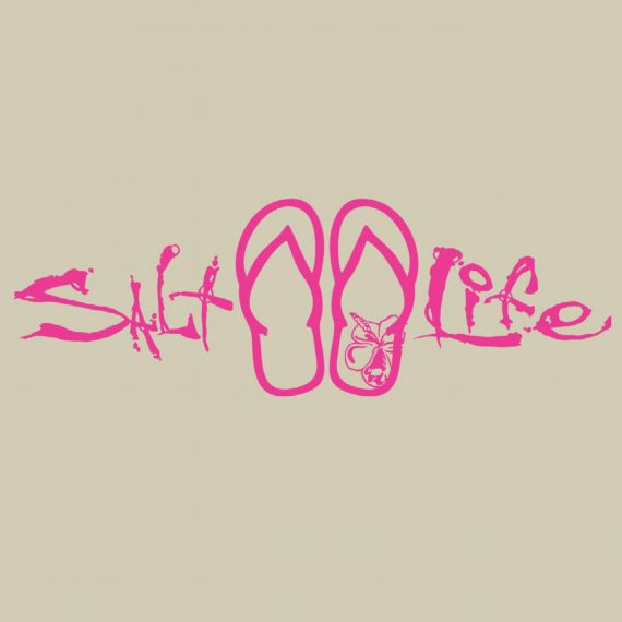 Salt Life Signature Sandal Decal Medium - Pink, White