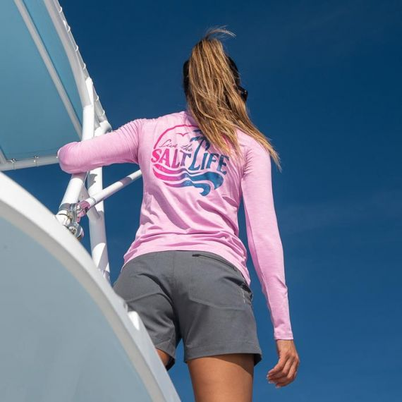 Salt Life - Sun Wave Long Sleeve Performance Tee - Fuschia