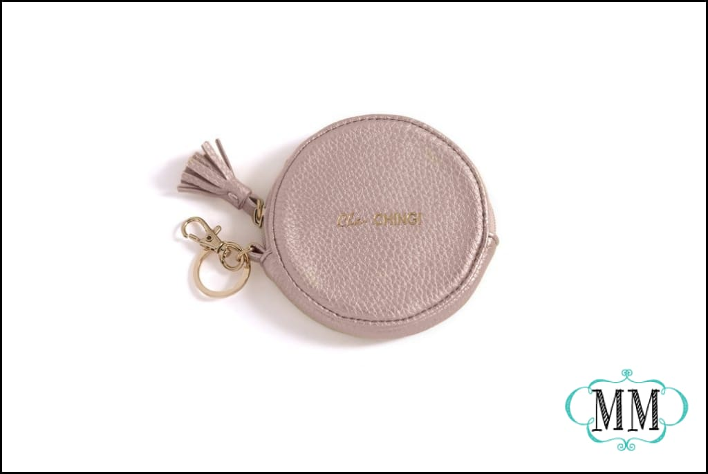 Shiraleah Ca-ching round zip pouch with keychain - Coin purse