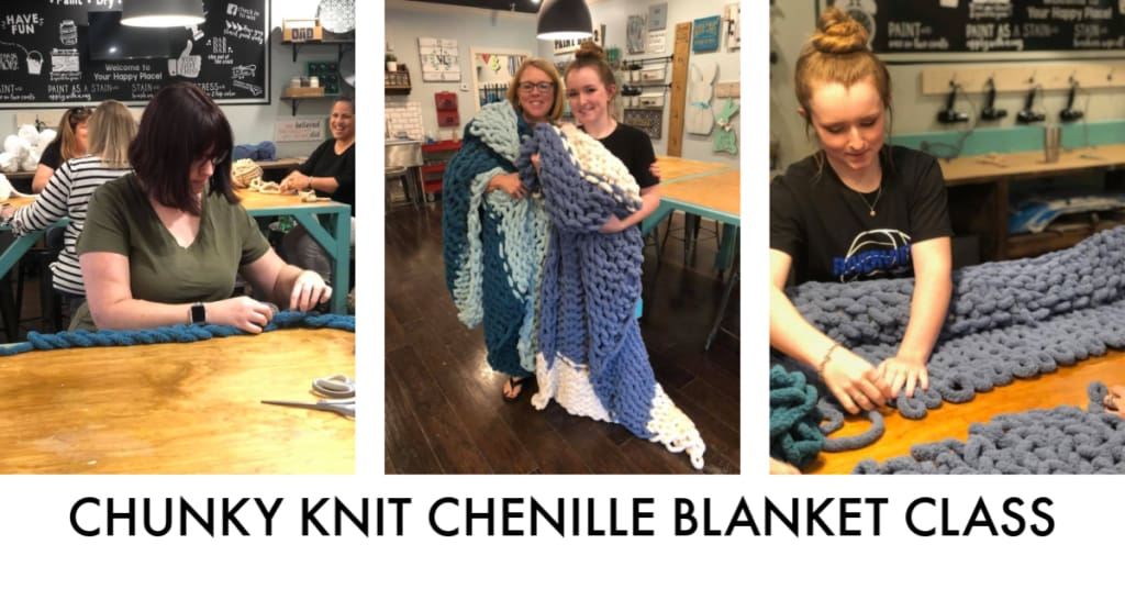 CHUNKY KNIT CHENILLE BLANKET WORKSHOP