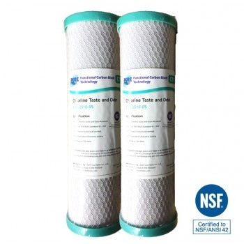 "Pure 2.5"" x 10"" Carbon Block 5 Micron Water Filter Dual Pack"