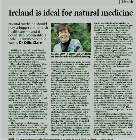 Dr Dilis Clare Herbalist and General Medical Practitioner