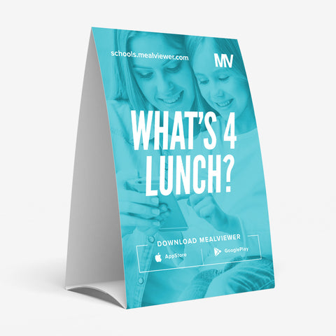 "Elementary School ""What's 4 Lunch?"" Table Tent - 20 pack"