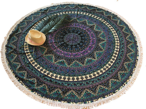 Blue Green Mandala Medallion Elephant Roundie Tapestry  Large