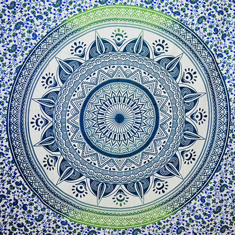 Blue Green Mandala Medallion Tapestry - Small
