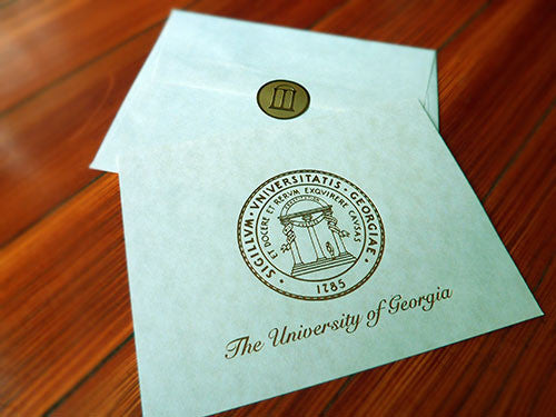 UGA Graduation ANNOUNCEMENT - Gold Foil on Natural Parchment with Natural Parchment Envelopes