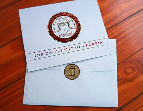 UGA Graduation INVITATION - Red & Gold Foil on Soft Ivory with Soft Ivory Envelopes