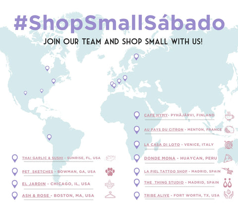 #ShopSmallSabado with Huaywasi and LLI map of team's favorite small businesses and local shops