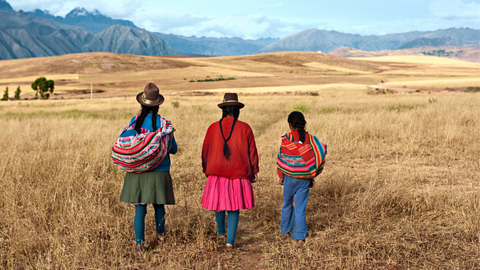 peruvian family women three generations in a field