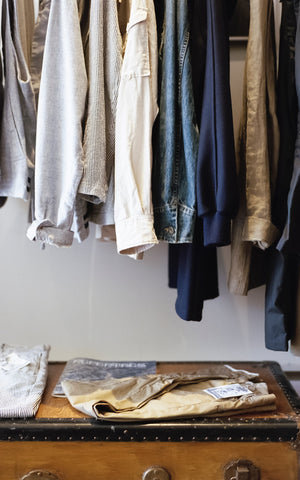Linen clothing hanging sustainable
