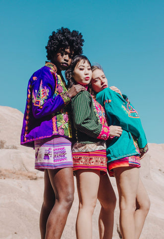 Was clothing three models in bolivian textiles