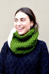 Color Blocked Chunky Infinity Scarf (Tight Fit) - Forest Green & White - Huaywasi: Handmade in Peru