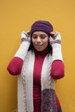 Jillian Cableknit Scarf- Oatmeal with Berries - Huaywasi: Handmade in Peru