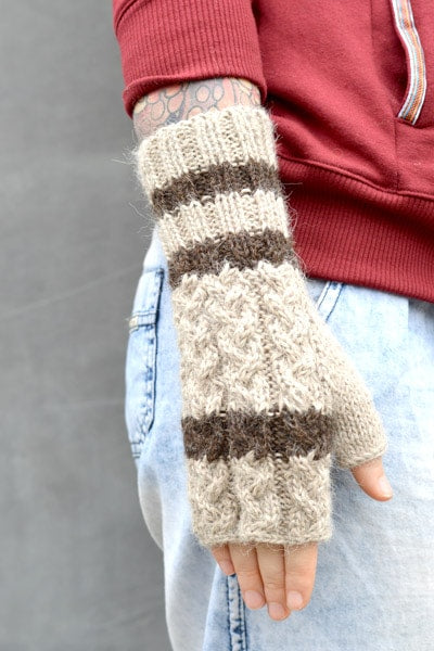 Pure Alpaca Long Fingerless Gloves (100% Alpaca) - Oatmeal