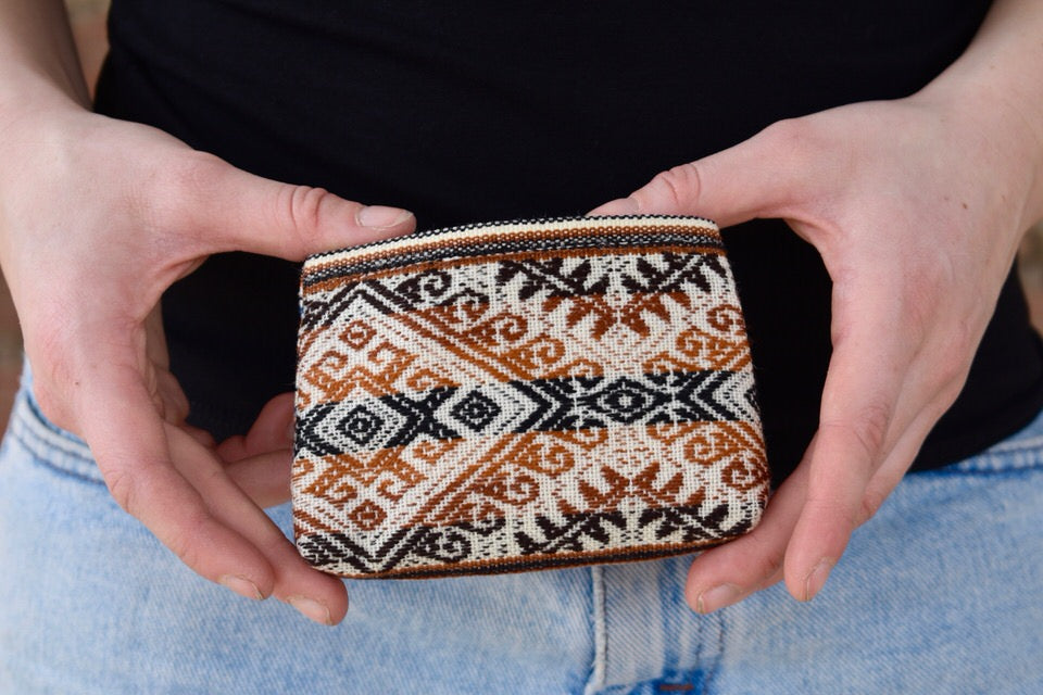 Herminia Coin Purse - Alpaca Brown & Dusty Ornaments - Huaywasi: Handmade in Peru