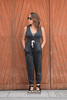 Victoria Jumpsuit - Dark Grey & Blue Detail - Huaywasi: Handmade in Peru
