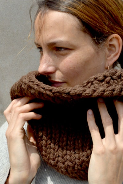 Chunky Infinity Scarf (Brown) (Loose Fit) - Huaywasi: Handmade in Peru