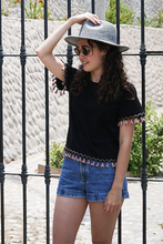 Load image into Gallery viewer, Tassel Tee (Black) - Huaywasi: Handmade in Peru