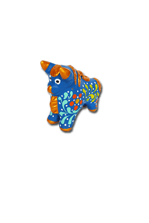 Medium Pucara Bull Ornament (Blue) - Huaywasi: Handmade in Peru