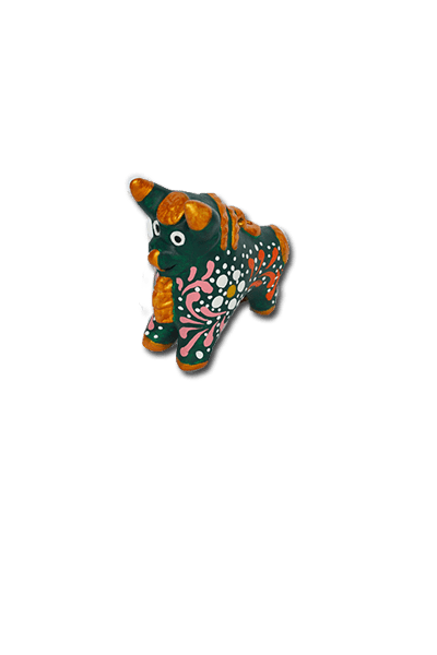 Medium Pucara Bull Ornament (Green) - Huaywasi: Handmade in Peru