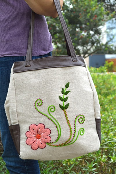 Flora Leather Tote Bag - Oatmeal & Brown - Huaywasi: Handmade in Peru