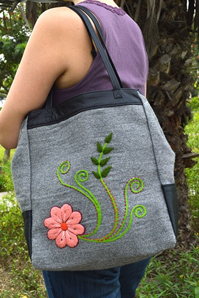 Flora Leather Tote Bag - Dark Grey - Huaywasi: Handmade in Peru