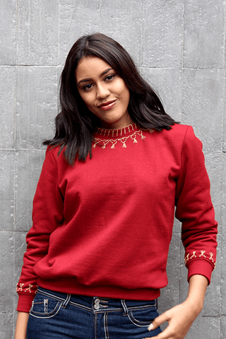 Lizzy Embroidered Sweatshirt (Deep Red) (Petite)