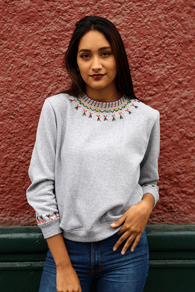 Lizzy Embroidered Sweatshirt (Grey) (Petite) - Huaywasi: Handmade in Peru