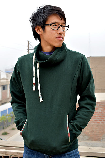 Zachary Cowl Neck (Men's) (Green) - Huaywasi: Handmade in Peru