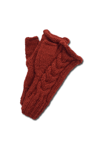 Tacna Fingerless Gloves (Ochre) - Huaywasi: Handmade in Peru