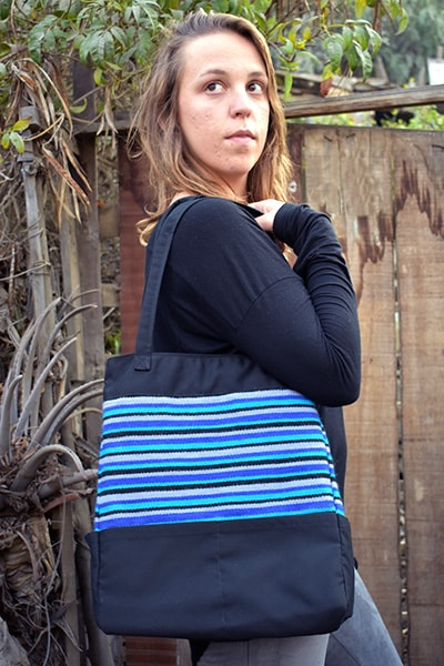 Gamarra Canvas Tote - Winter Skies  SALE! - Huaywasi: Handmade in Peru
