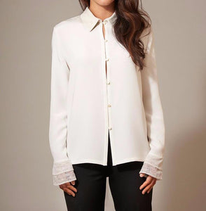 White Silk Blouse with Chantilly Lace Cuff and Collar