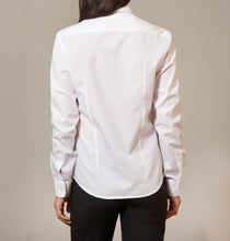 Women's White Cotton shirt - Button Down Back View