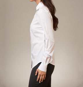 Women's White Cotton shirt button down. Side view with single  cuff