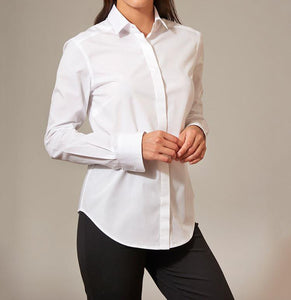 Women's White Cotton Shirt - Button Down Front
