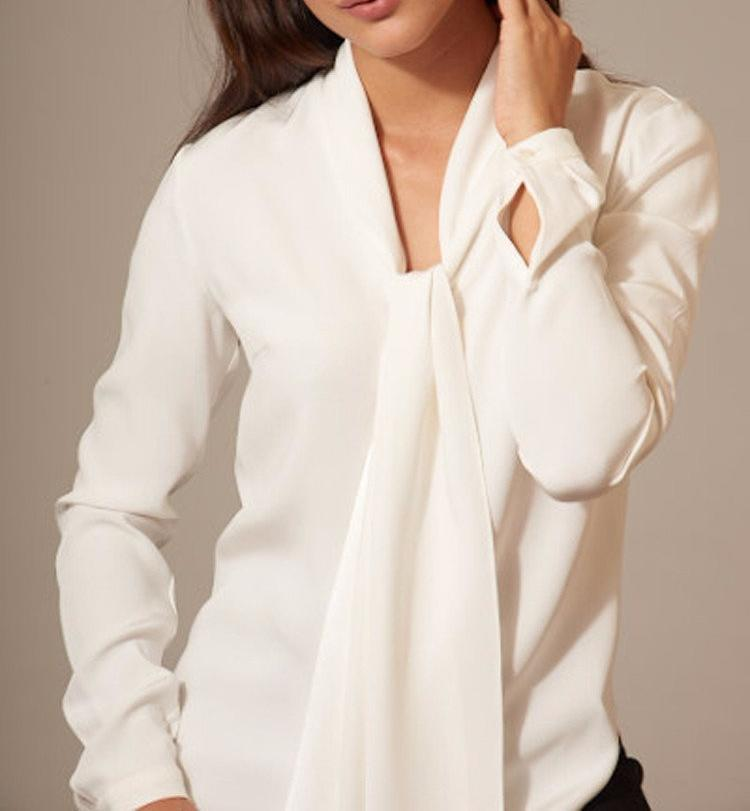 Classic Blouse in White Silk with Self-Tie by Rhonda Cole