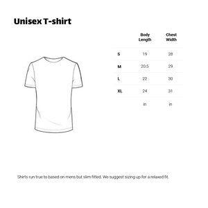 Chasing Dreams T-Shirt sizing chart