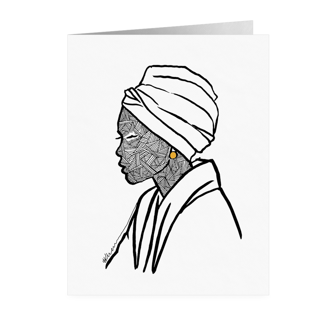 Turbaned Woman Folded Card Front