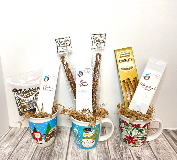 Spread good tidings and a little caffeine boost this holiday season! This 8 ounce mug coupled with a 1.5 ounce bag of locally roasted coffee and your choice of 2 pretzel rods is perfect for those who want to share a smile on a budget.