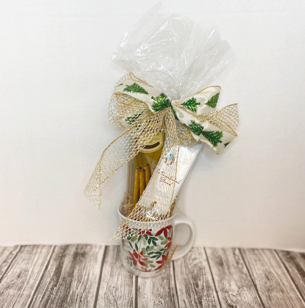 Spread good tidings and a little caffeine boost this holiday season! This 8 ounce mug coupled with a 1.5 ounce bag of locally roasted coffee and a box of premium rolled wafers is perfect for those who want to share a smile on a budget.