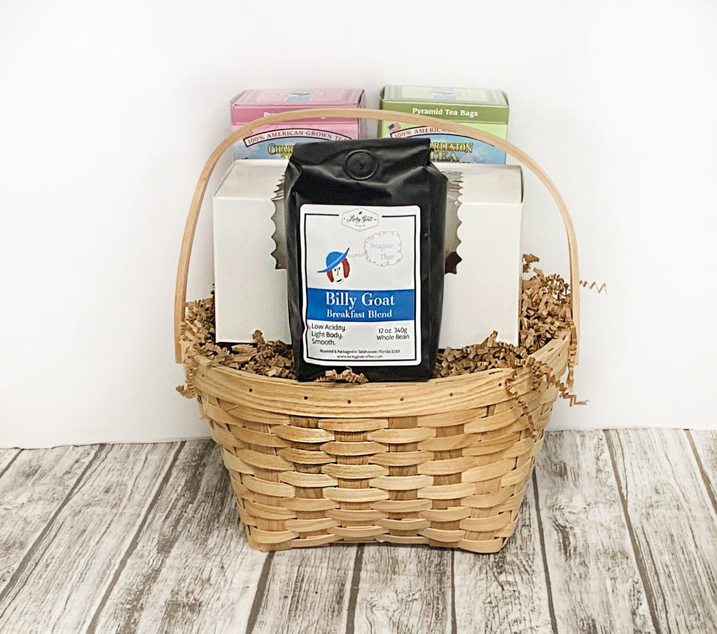 Calling all coffee and tea fanatics! Add a pound of your desired sweet and the morning is made! Basket includes a 12 oz bag of Tallahassee's very own Lucky Goat Coffee, 2 1.02 oz boxes of Charleston local tea and a pound of your choice of goodies! Add your custom gift message at checkout!