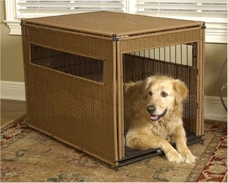 Wicker Dog Crate - Medium/Dark Brown