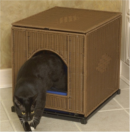 Wicker Litter Box Cover - Jumbo - Dark Brown