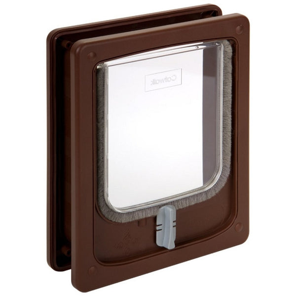 Cat Door with Tunnel - Brown