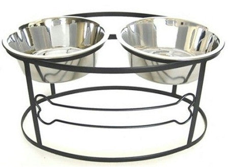 Bone Raised Double Dog Bowl - Medium/Black