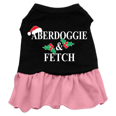 Aberdoggie Christmas Dog Dress - Black with Pink/Small