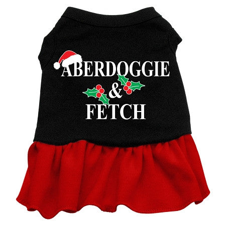 Aberdoggie Christmas Dog Dress - Black with Red/Extra Small