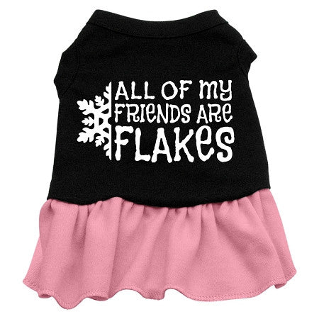 All my friends are Flakes Dog Dress - Black with Pink/Extra Large
