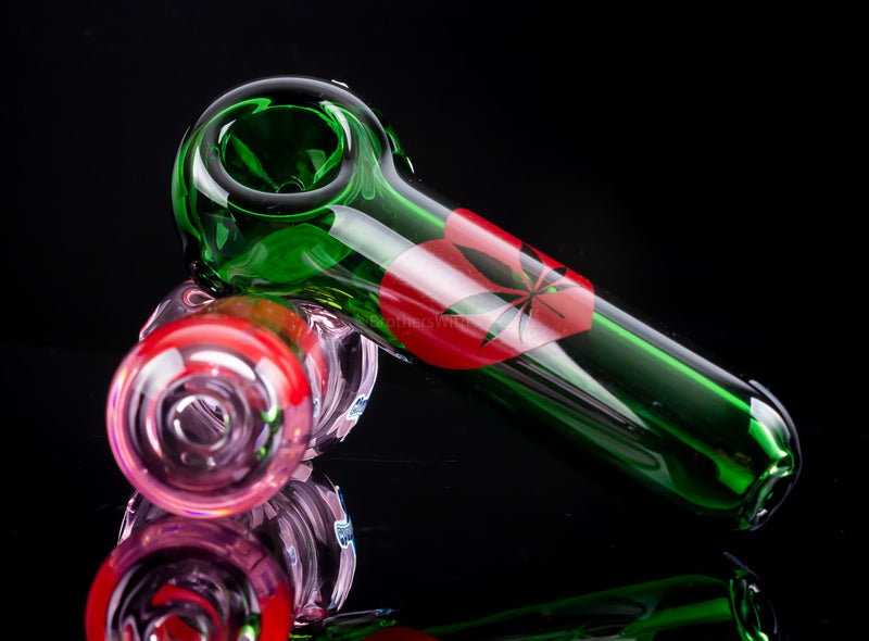 Chameleon Glass I Love Cannabis Heart Hand Pipe